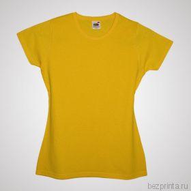 Женская желтая футболка без рисунка FRUIT OF THE LOOM