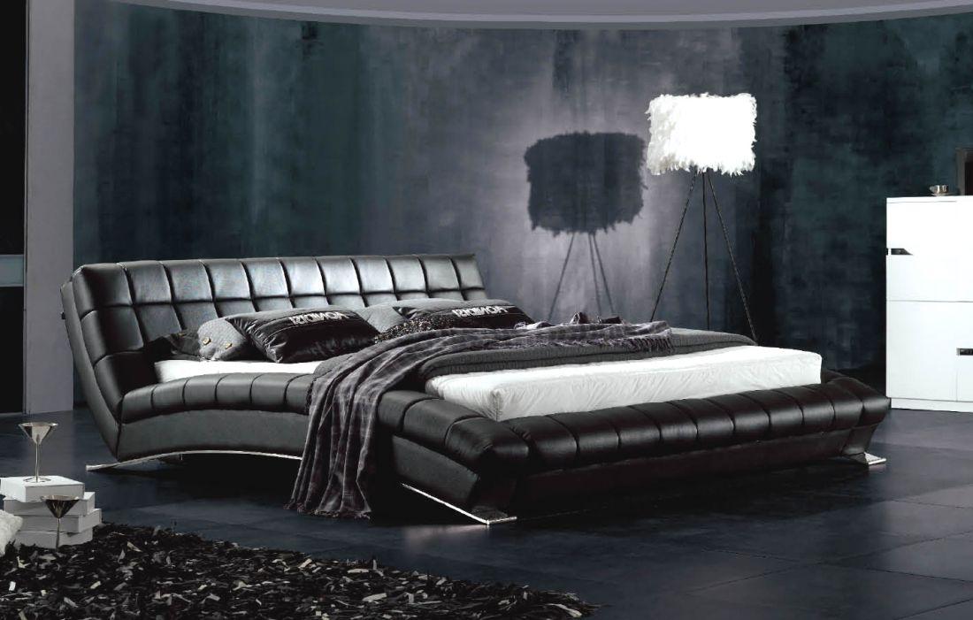 Кожаная кровать AY197 черная NightCat | LineSleep