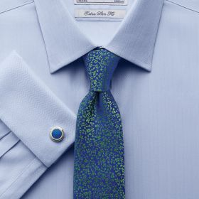 Мужская рубашка под запонки синяя Charles Tyrwhitt сильно приталенная Extra Slim Fit (RE007SKY)