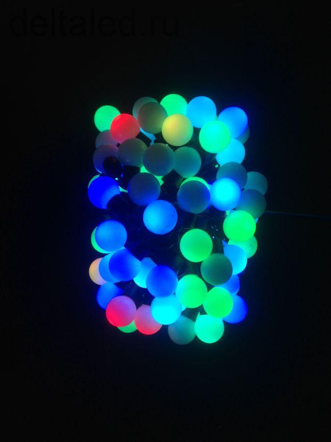 """Светодиодная гирлянда """"Шарики"""" диаметром 25 мм, 10 метров, 100 диодов, RGB для уличного применения"""