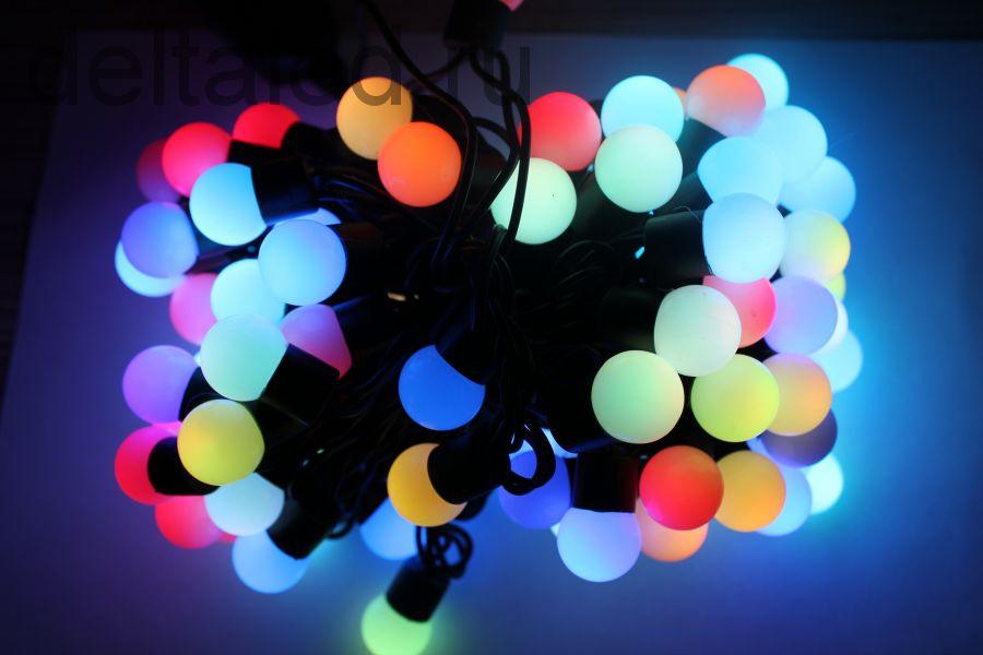 """Светодиодная гирлянда """"Шарики"""" диаметром 18 мм, 10 метров, 100 диодов, RGB для уличного применения"""