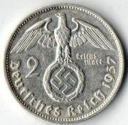 2 рейхсмарки. 1937 год. F. Серебро.