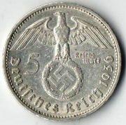 5 рейхсмарок. 1936 год. G.  Серебро.