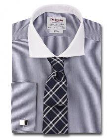 Мужская рубашка под запонки в темно-синюю полоску T.M.Lewin приталенная Slim Fit (48697)