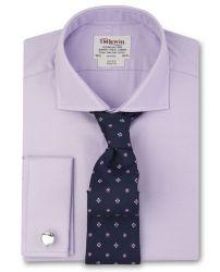 Мужская рубашка под запонки сиреневая T.M.Lewin приталенная Slim Fit (48299)