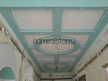 Фигурная  двухуровневая конструкция из ГКЛ на потолке