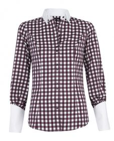 Женская рубашка белая в коричневую клетку T.M.Lewin приталенная Fitted (48147)