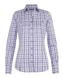 Женская рубашка в сиреневую клетку T.M.Lewin приталенная Fitted (48241)