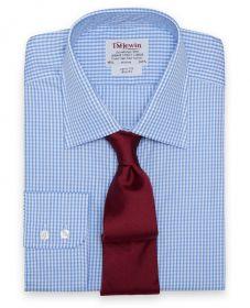 Мужская рубашка в синюю клетку T.M.Lewin приталенная Slim Fit (30448)