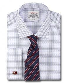 Рубашка мужская под запонки в мелкую синюю клетку T.M.Lewin приталенная Slim Fit (48713)