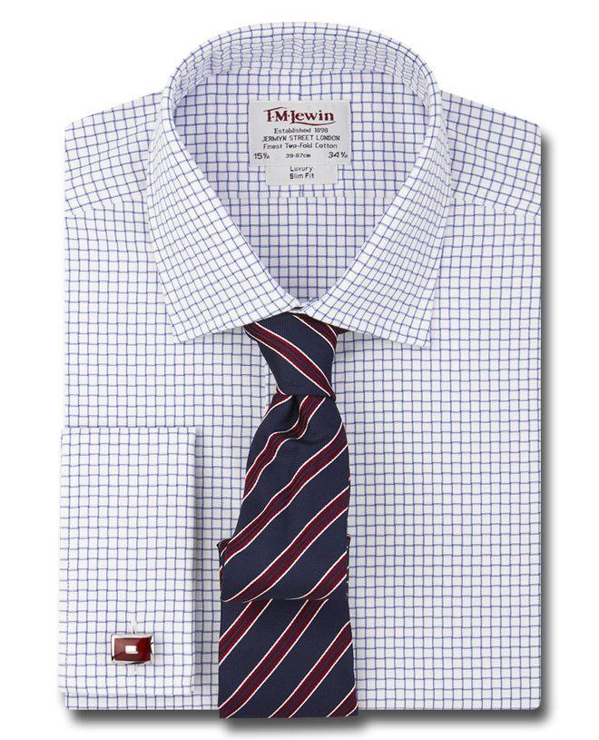 6bd7f98dd3b Рубашка мужская под запонки в мелкую синюю клетку T.M.Lewin приталенная  Slim Fit