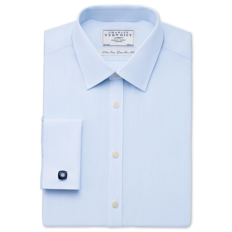 9f02f72ea46 Увеличить изображение · Мужская рубашка синяя Charles Tyrwhitt не мнущаяся  Non Iron сильно приталенная Extra Slim Fit