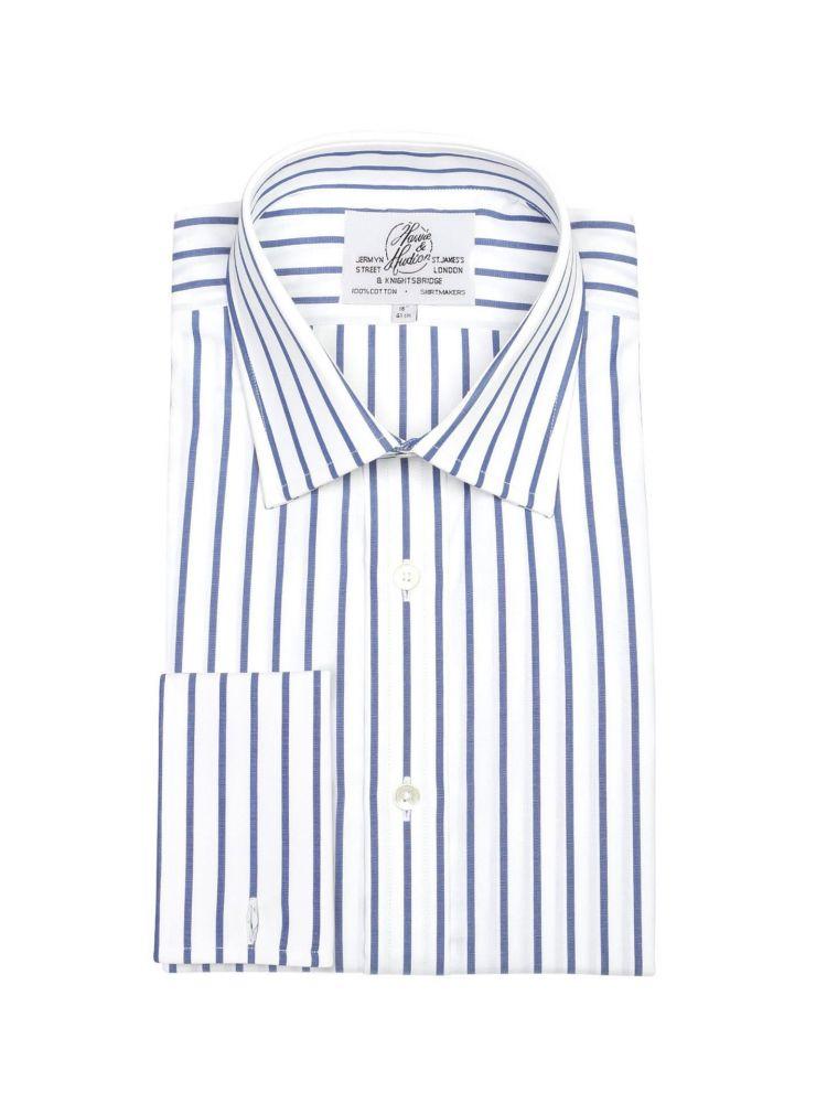 80717974cff Мужская рубашка под запонки большого размера с длинным рукавом белая в  синюю полоску Harvie   Hudson