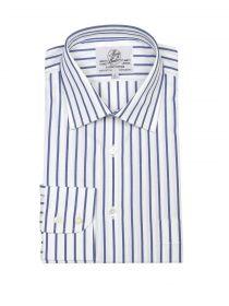 Мужская рубашка большого размера с длинным рукавом белая в синюю полоску Harvie & Hudson приталенная Slim Fit (01J0066NVY)