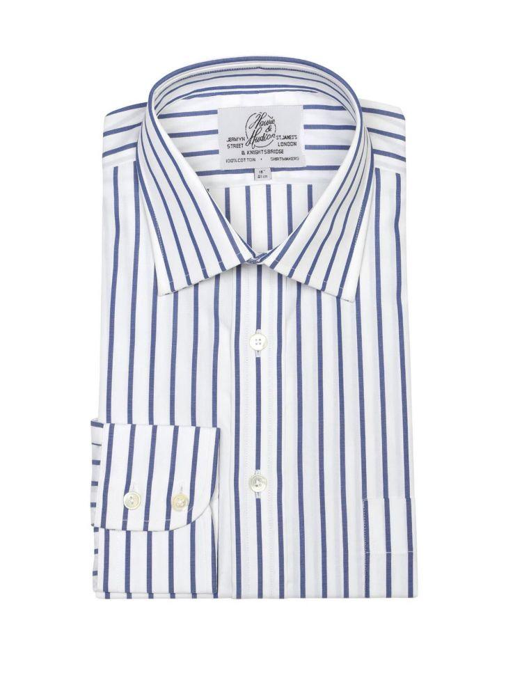 e7a02fd6c57 Мужская рубашка большого размера с длинным рукавом белая в синюю полоску  Harvie   Hudson приталенная Slim