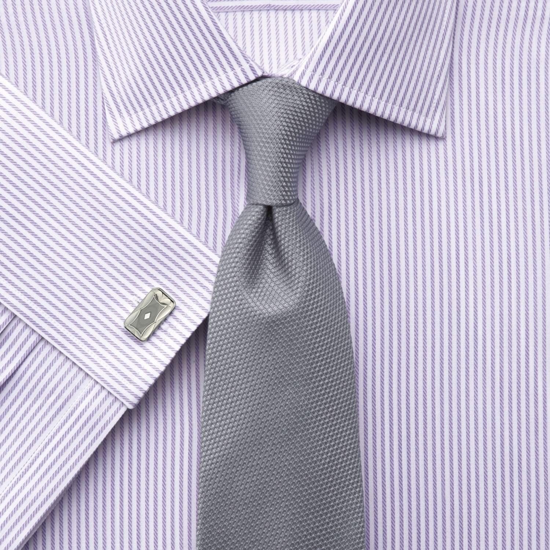 5e9b2bd537c Мужская рубашка под запонки в сиреневую полоску Charles Tyrwhitt  приталенная Slim Fit