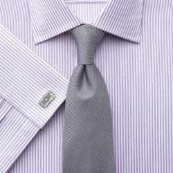Мужская рубашка под запонки в сиреневую полоску Charles Tyrwhitt приталенная Slim Fit (FT222LLC)