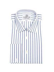 Мужская рубашка под запонки большого размера с длинным рукавом белая в синюю полоску Harvie & Hudson приталенная Slim Fit (01J0244NVY)