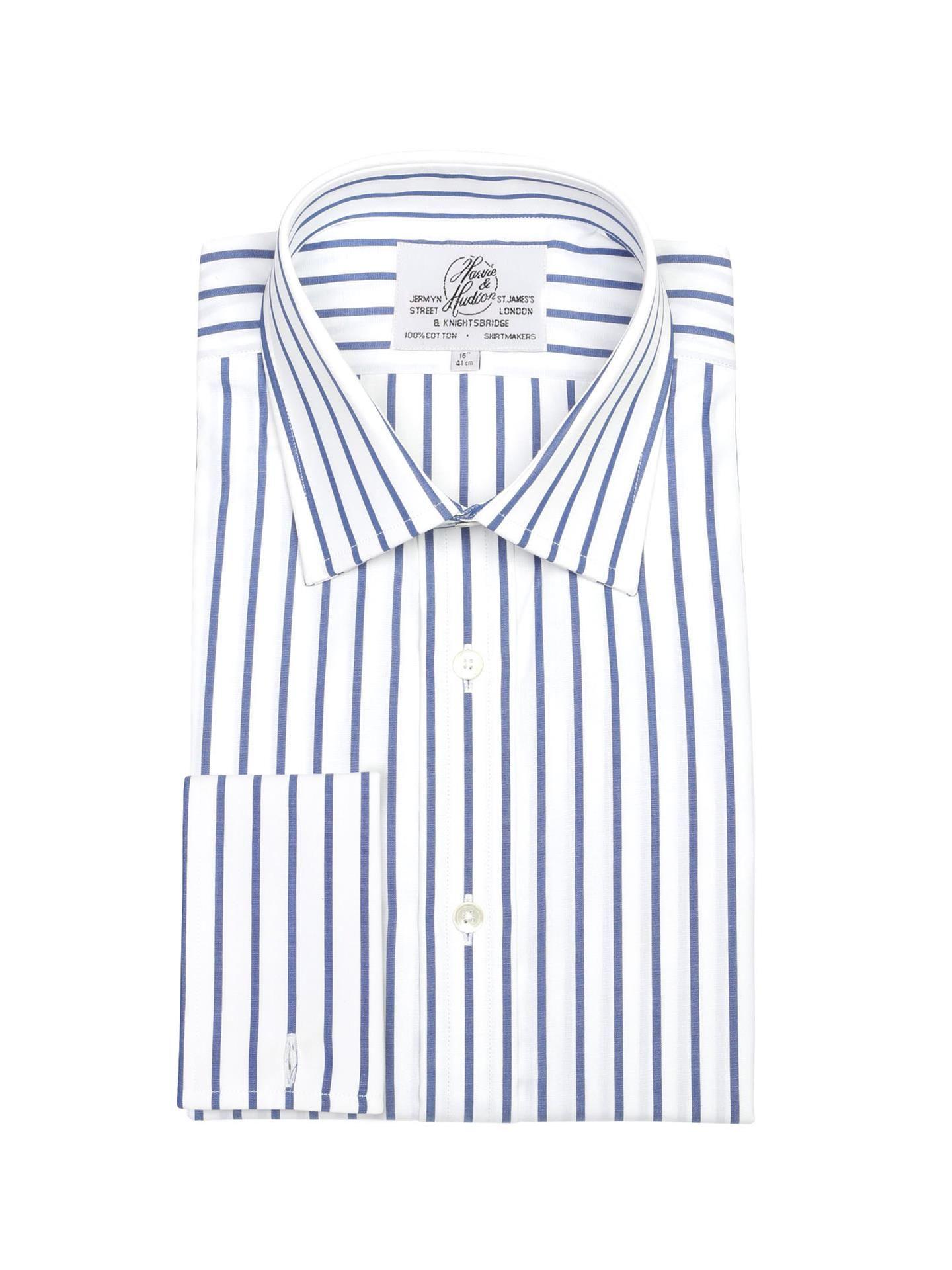 6b1ca2225a5 Мужская рубашка под запонки большого размера с длинным рукавом белая в  синюю полоску Harvie   Hudson