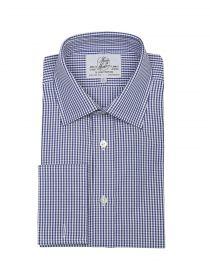 Мужская рубашка под запонки большого размера с длинным рукавом в синюю клетку Harvie & Hudson приталенная Slim Fit (01J0194NVY)