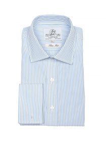 Мужская рубашка под запонки белая в светло синюю полоску Harvie & Hudson приталенная Slim Fit (01J0093BLU)