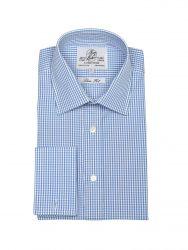 Мужская рубашка под запонки в синюю клетку Harvie & Hudson приталенная Slim Fit (01J0129BLU)