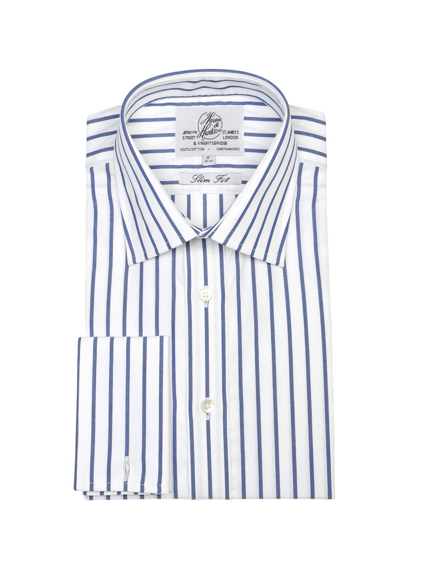 aa9a23c9a4f Мужская рубашка под запонки белая в синюю полоску Harvie   Hudson  приталенная Slim Fit