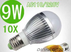 Светодиодные лампы 9 Вт E27 (10 шт.)