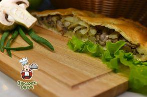 Пирог из сдобного теста с картофелем, грибами (2,3 кг.)