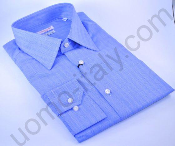 Рубашка классическая голубая в клетку (последний размер 43)