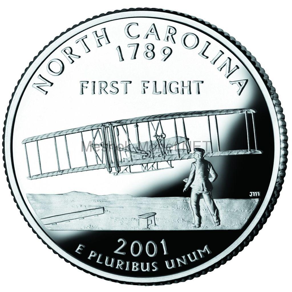 25 центов США 2001 штат Северная Каролина