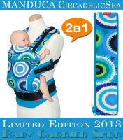 Комплект 2в1 MANDUCA LimitedEditions CircadelicSea «Слинг-рюкзак Baby Carrier + Вставка на молнии в удлинение спинки ZipIn» [Мандука набор эргорюкзак+вставка Море]