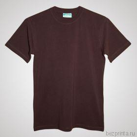 Мужская коричневая футболка стрейч без рисунка REDFORT