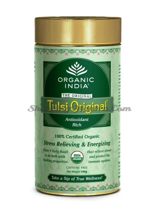 Индийский зеленый чай с тулси без кофеина Органик Индия заварной (Tulsi Original Tea Organic India)