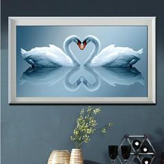 """Набор для вышивания крестом """"Лебеди"""" (шелковые нити) 3D"""
