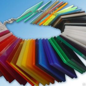 Цветной акрил пмма moden glas красный, черный, жёлтый, синий, оранж., 3мм