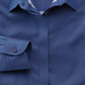 Женская рубашка синяя в белую точку Charles Tyrwhitt приталенная Fitted не мнущаяся Non Iron (WR059NAV)