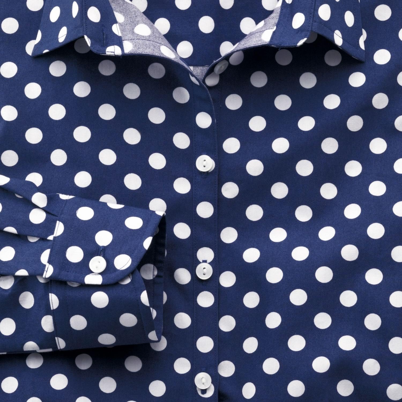 5dc4c04b9a3921a Женская рубашка синяя в белый горошек Charles Tyrwhitt приталенная Fitted