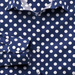 Женская рубашка синяя в белый горошек Charles Tyrwhitt приталенная Fitted (WE083NAV)