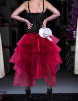 Красная юбка Рыбий хвост. Вид сзади.