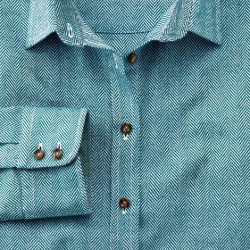 Женская рубашка зеленая Charles Tyrwhitt приталенная Fitted (WP059TEL)