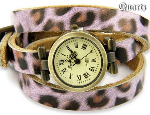 "Часы на кожаном браслете ""Леопард"""
