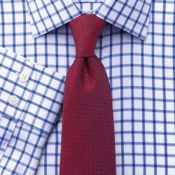 Мужская рубашка белая в синюю клетку Charles Tyrwhitt не мнущаяся Non-Iron приталенная Slim Fit (FN260RYL)