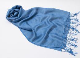Синий палантин из шелка с шерстью (под заказ)