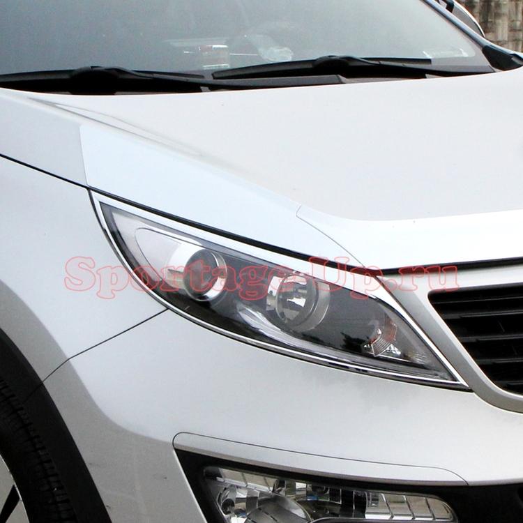 Накладки на передние фары KIA Sportage3, хром, AutoClover