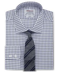 Мужская рубашка белая в синюю клетку T.M.Lewin приталенная Slim Fit (51873)