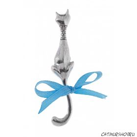 Брошь Мяука - покрытие: черненое серебро, вставка: кристаллы Swarovski + голубая ленточка