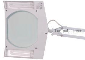 Лампа лупа на струбцине квадратная настольная 5Х с подсветкой, белая  REXANT