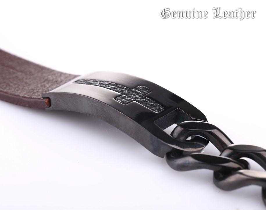 Массивный браслет из кожи и стали