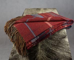 плед шотландский двусторонний, 100 % стопроцентная шотландская овечья шерсть, расцветка Рассэт, плотность 10